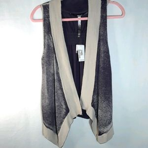 Kensie knit hombre vest gray-blue and tan NWT
